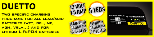 BC Duetto - Two charging programs for all lead/acid batteries (wet, gel, MF, AGM, VRLA) and for lithium iron phosphate batteries (LiFePO4)